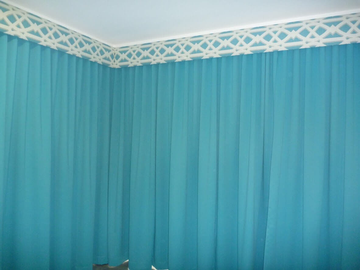 Beach house theatre room Pelmet & curtains