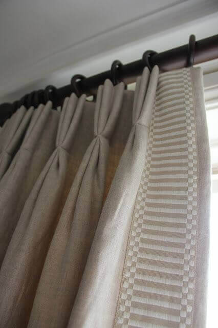 Triple Pinch trimmed Linen Curtain